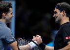 """Seškārtējam čempionam Federeram """"ATP Finals"""" sākas ar kārtējo sakāvi pret Tīmu"""
