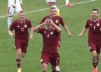 Video: Latvijas U21 izlase arī savā laukumā atņem punktus serbiem