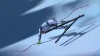 Milzu ātrumā kalnu slēpotājs zaudē līdzsvaru, pieceļas un turpina ceļu