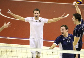 """Foto: """"RTU/Robežsardzes"""" volejbolisti ar uzvaru sāk """"Schenker"""" līgas ceturtdaļfinālu"""