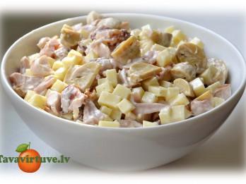 Fotorecepte: ātri pagatavojami siera salāti ar žāvētu vistu