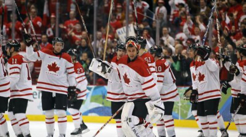 Vai kanādieši priecāsies arī pēc spēles ar Slovākiju? Foto: Reuters/Scanpix