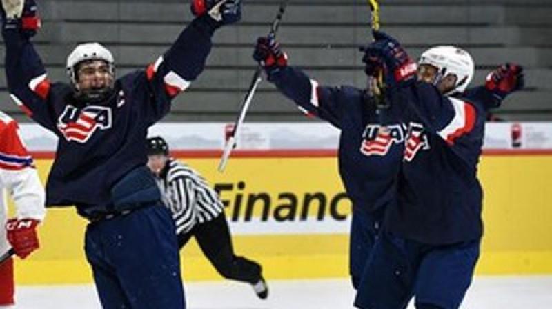 ASV izlases hokejisti izbauda uzvaru Foto: Matt Zambonin/HHOF-IIHF Images