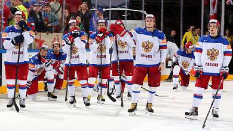 Krievijas izlases hokejsisti  Foto: IIHF