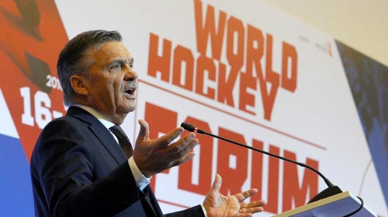 IIHF prezidents Renē Fāzels (Šveice). Foto: sovsport.ru
