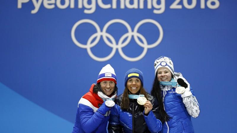 Marita Bjergena (Norvēģija), Šārlota Kalla (Zviedrija) un Krista Parmakoski (Somija) Foto: AP/Scanpix