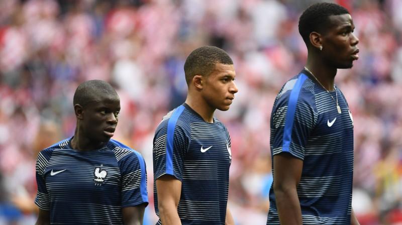 Ngolo Kantē, Kilians Mbapē un Pols Pogbā. Foto: AFP/Scanpix