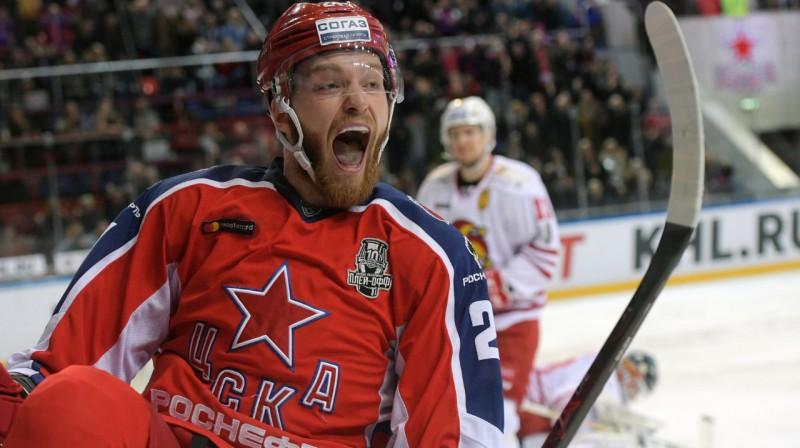 """CSKA uzbrucējs Mihails Grigorenko guva divus vārtus mačā pret Kazaņas """"Ak Bars"""". Foto: rsport.ria.ru"""