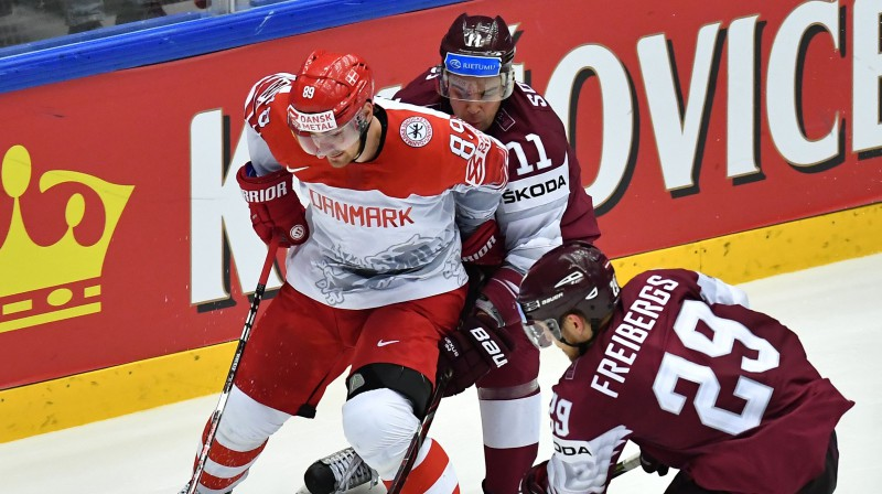 Mikels Bedkers pret Latvijas izlasi. Foto: AFP/Scanpix