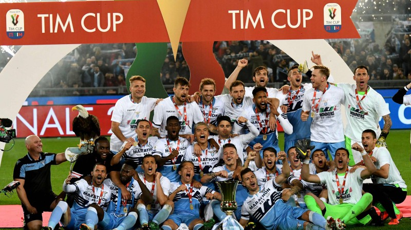 """Romas """"Lazio"""" priecājas par triumfu Itālijas kausā. Foto: AFP/Scanpix"""