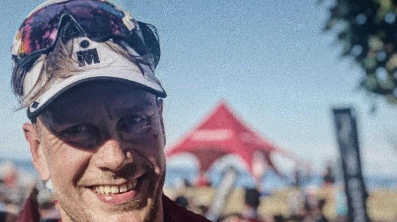 Māris Plūme pēc finiša Durbanā. Foto: Latvijas Triatlona federācija