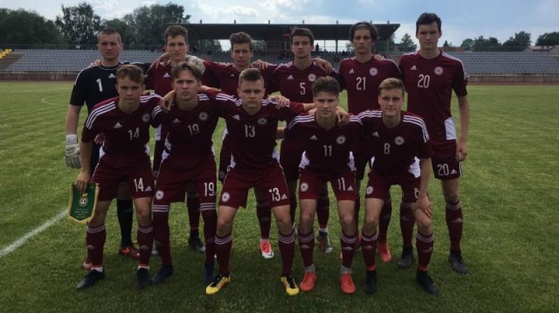 Latvijas U19 izlase. Foto: LFF
