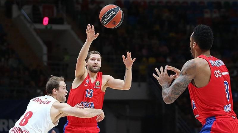 Jānis Strēlnieks: astoņi punkti uzvarā pār Minsku. Foto: CSKA