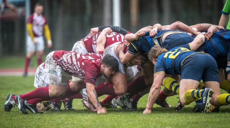 Latvijas regbija izlase spēlē pret Zviedriju. Foto: Zigismunds Zālmanis (LRF)