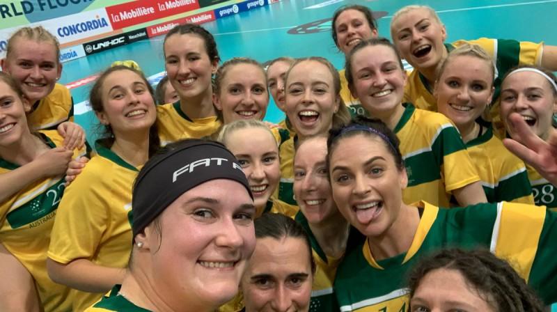 Pie emocionālākās uzvaras turnīra ievadā tikusi Austrālija Foto: IFF Floorball