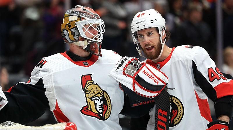 """Otavas """"Senators"""" hokejisti. Foto: AFP/Scanpix"""