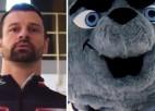 Video: Hokeja pasaules čempionāta talismans Spaikijs piekāpjas Martinam Dukuram