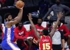 """Embīdam 40+13 revanšā pret """"Hawks""""; """"Jazz"""" sīvā cīņā pārspēj """"Clippers"""""""