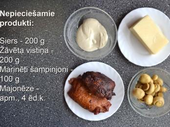 Fotorecepte: Siera salāti ar žāvētu vistu soli pa solim