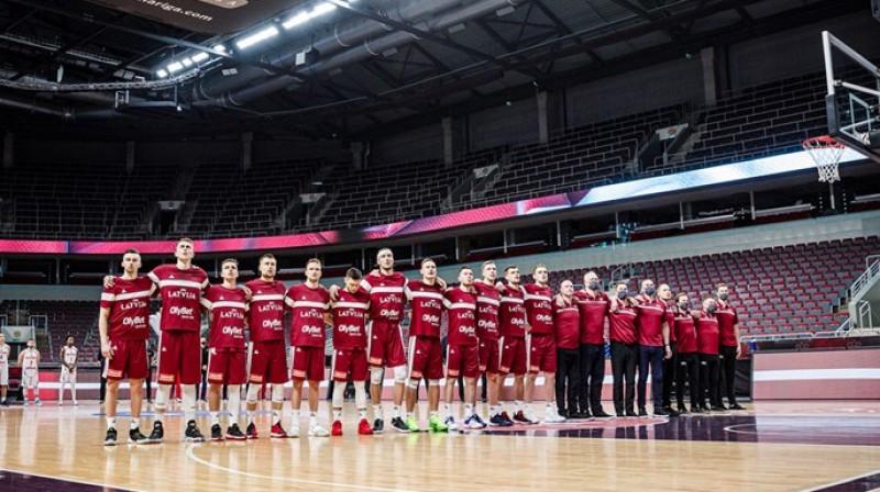 Latvijas vīriešu basketbola izlase. Foto: LBS